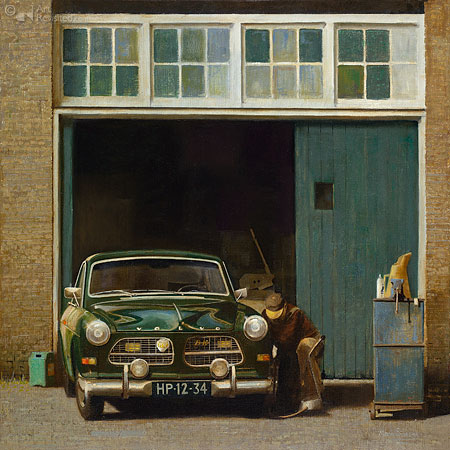 Martin Sijbesma in Museum Schoonewelle met realistisch werk